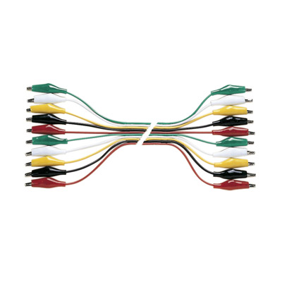 Set of 5 Pairs of Multi-coloured 0.3 m Test Leads with Crocodile Clips at B