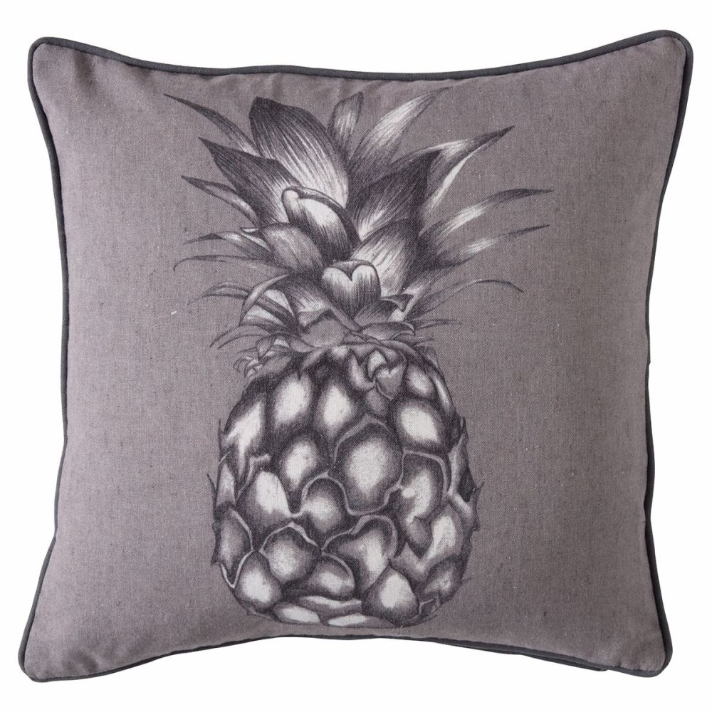 Monochrome Linen Pineapple Cushion