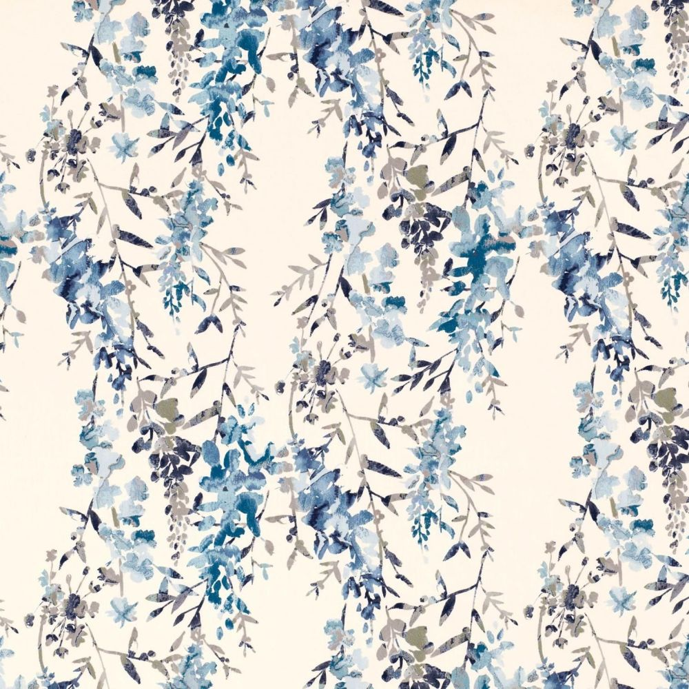 Villa Nova Fabrics & Wallcoverings - Hana Indigo Printed cotton slub Fabric