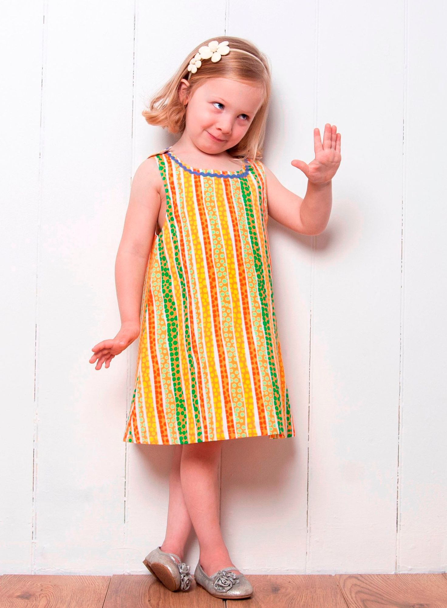 DOTS AND STRIPES YELLIW DRESS