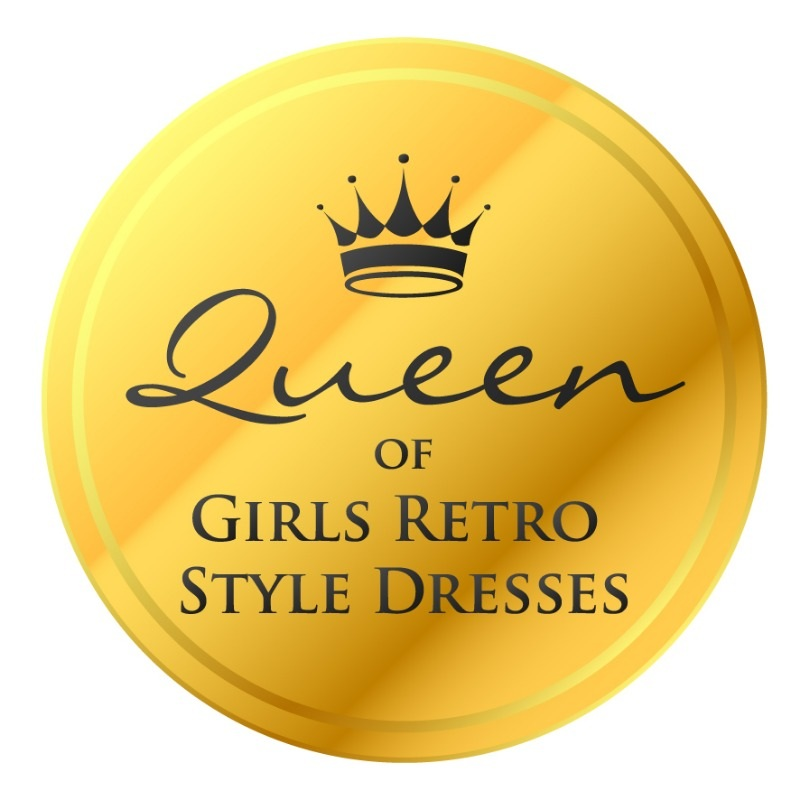 queen of girls retro style dresses badge_f