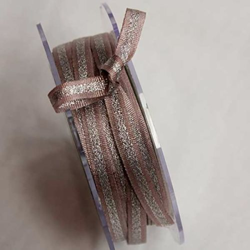 Rose pink & Silver ribbon