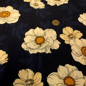 NAVY & GOLD FLOWER. - per half metre