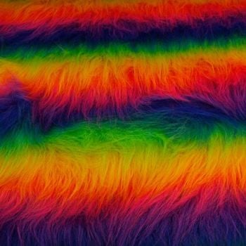 LONG Pile Fun Faux Fur Fabric Material RAINBOW MIX. per half metre