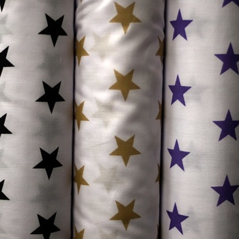 White poly cotton with stars - per half metre
