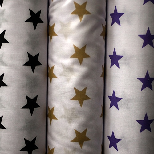White poly cotton with stars - Sold by the metre