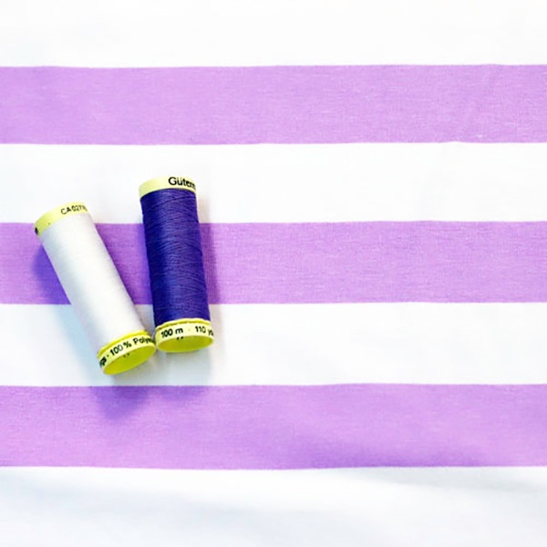 Tilly & The Buttons - Wide Stripe Lilac- sold by the metre