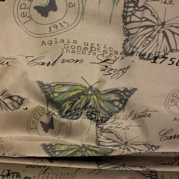 Natural with Green Butterfly - sold by the 1/2 metre - from