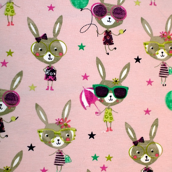 Pink Organic Jersey with Bunnies - sold by the half metre