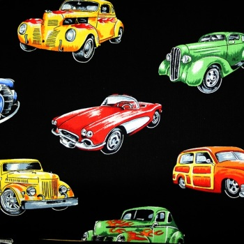 Novelty Fabric -Hot Rods - Sold by the half metre