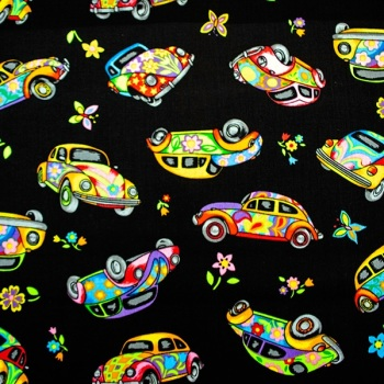 Novelty fabric - VW Beetles - sold by the Fat Quarter - from
