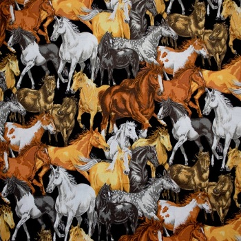 Novelty Fabric -In The Country Horses - Sold by the half metre