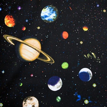 Novelty Fabric - Large Solar with Glitter Sold by the half metre