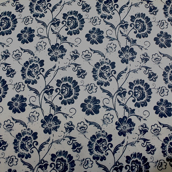 Navy & Cream Flower - sold by the metre