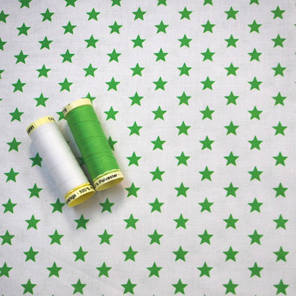 White with green stars