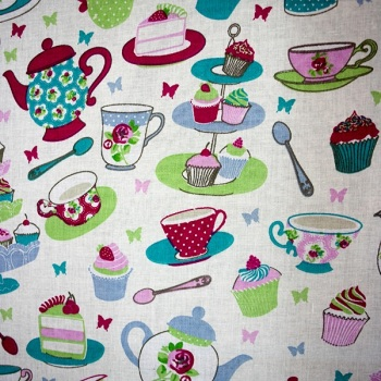 100% Cotton - Time for Tea - Red - per metre