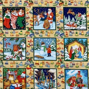 Festive Squares - Sold br the half metre