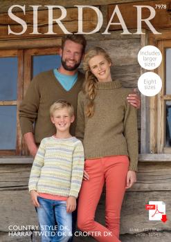 Sirdar 7978 Family PDF Pattern in DK in Harrap Tweed (PDF)