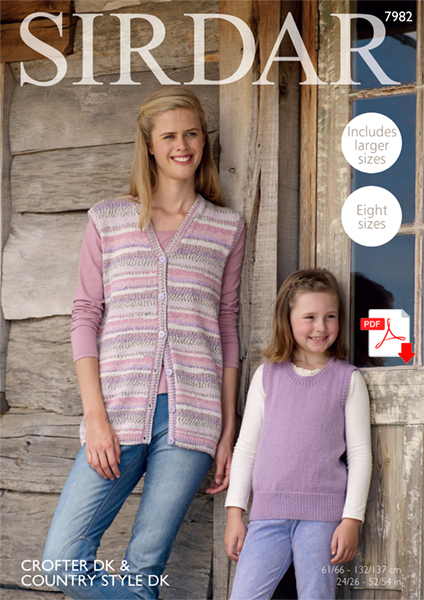 Sirdar 7982 Ladies and Girls WAISTCOAT & TANK in SIRDAR CROFTER DK