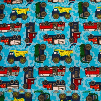 Tonka Trucks on Blue Background - Sold by the half metre
