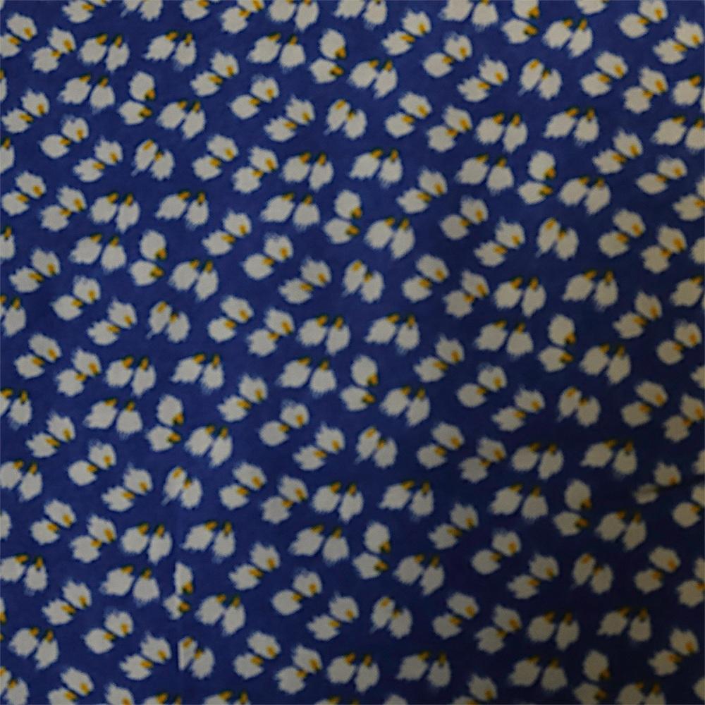 100% Viscose Print Leaf Royal - Sold by the half metre