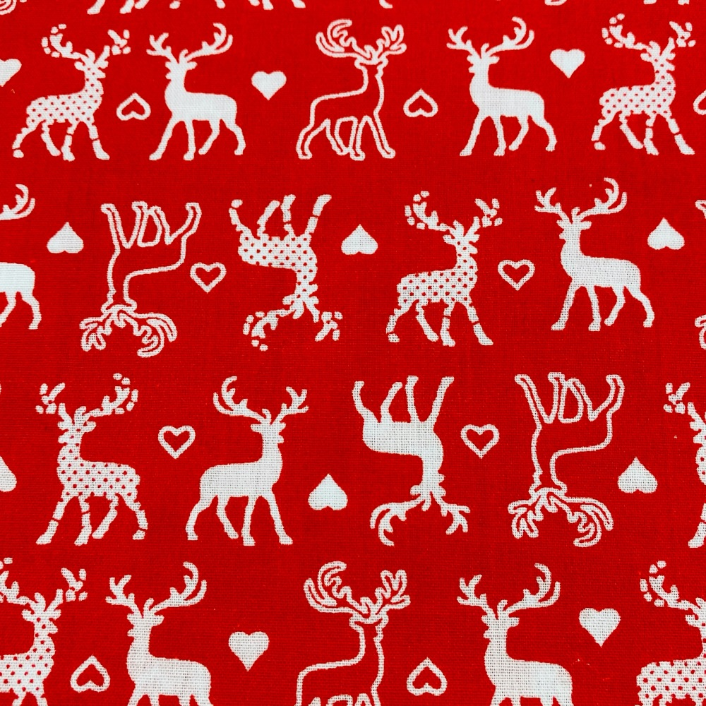 Reindeer Red & White - sold by half metre