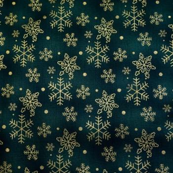 Green with Metallic Gold Snowflakes -per half metre