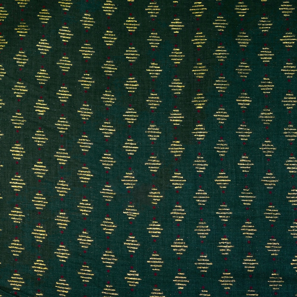Green with Gold Diamond - Sold by half metre