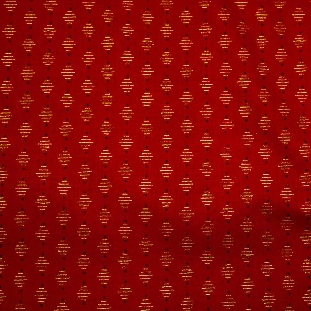 Red w/ Metallic Gold - Sold by half metre
