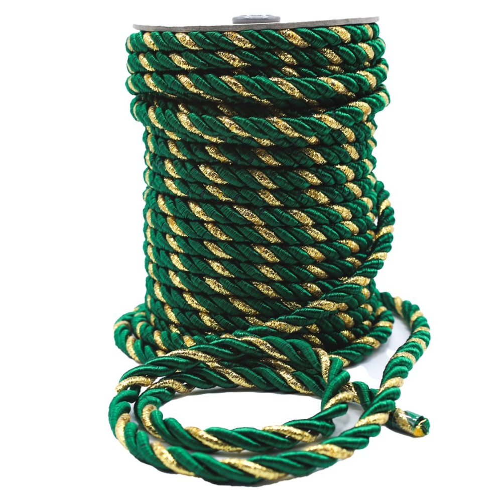 Green & Red Rope Cord - Sold by the metre