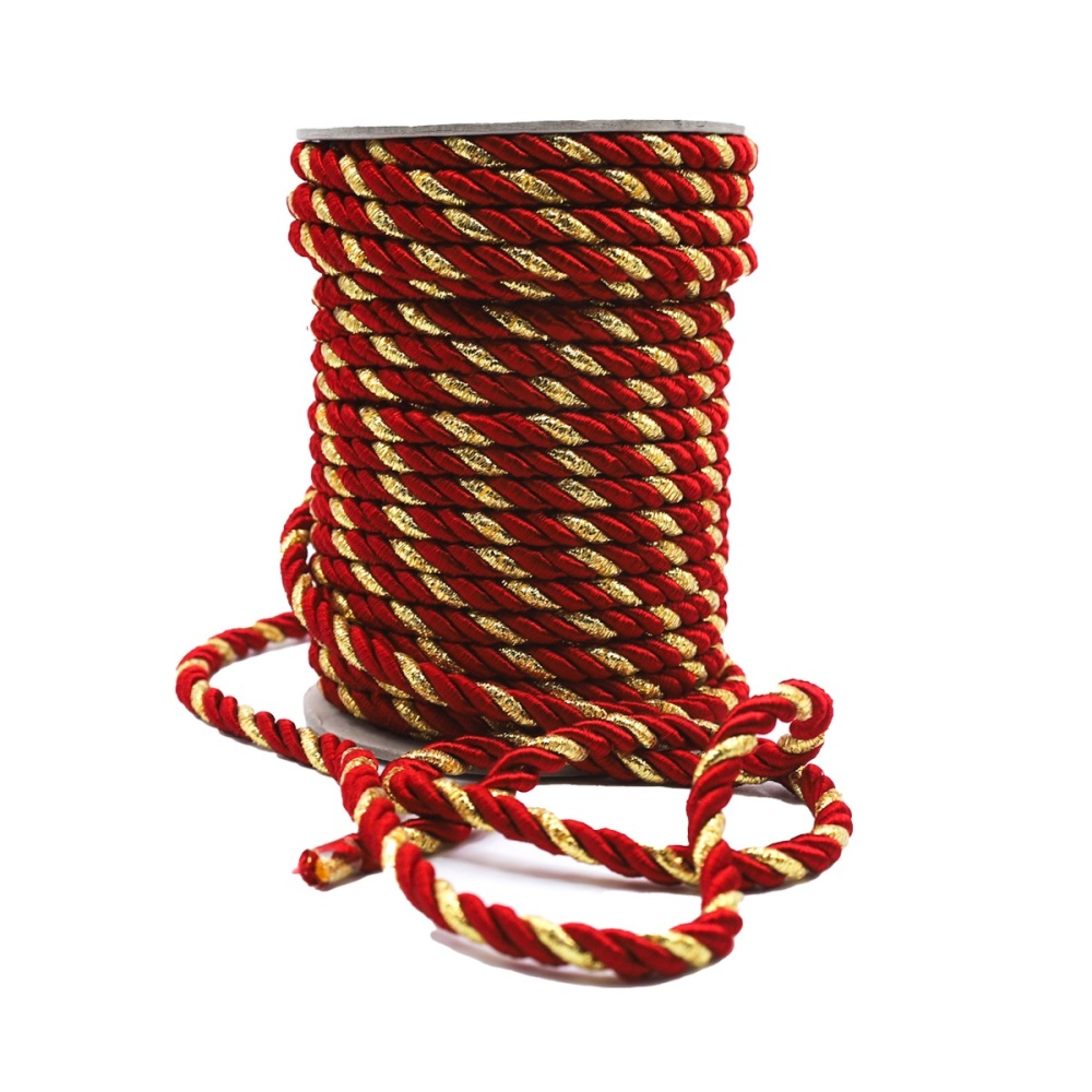 Red & Gold Cord - sold by the metre