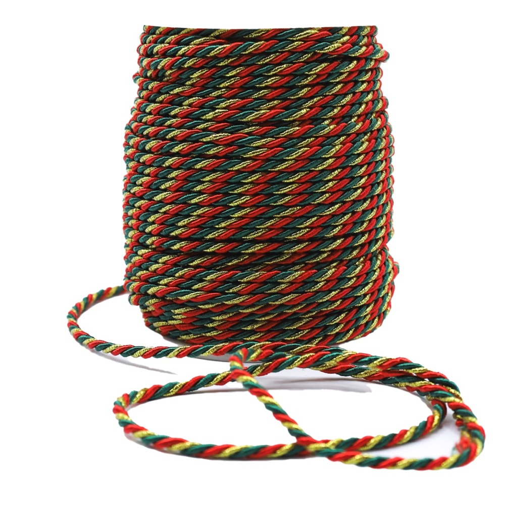 Red & Gold and Green Rope Cord - sold by the metre