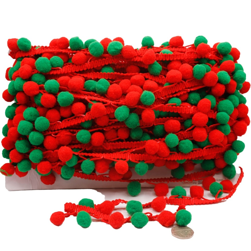 Red & Green Pom Pom Trim - per metre