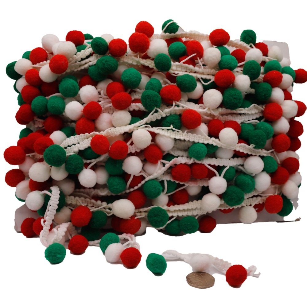Red, White & Green Pom Pom Trim - per metre