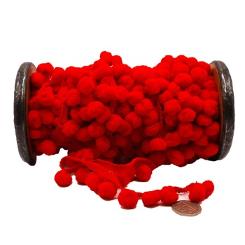Red Pom Pom trim - per metre