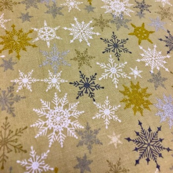 Gold Festive Snowflake - Per Half Metre