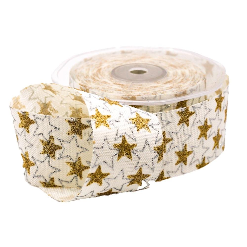 Metalic Gold & Silver Stars on Cream - per metre