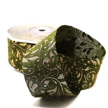 Green with Metallic Gold pattern - per metre