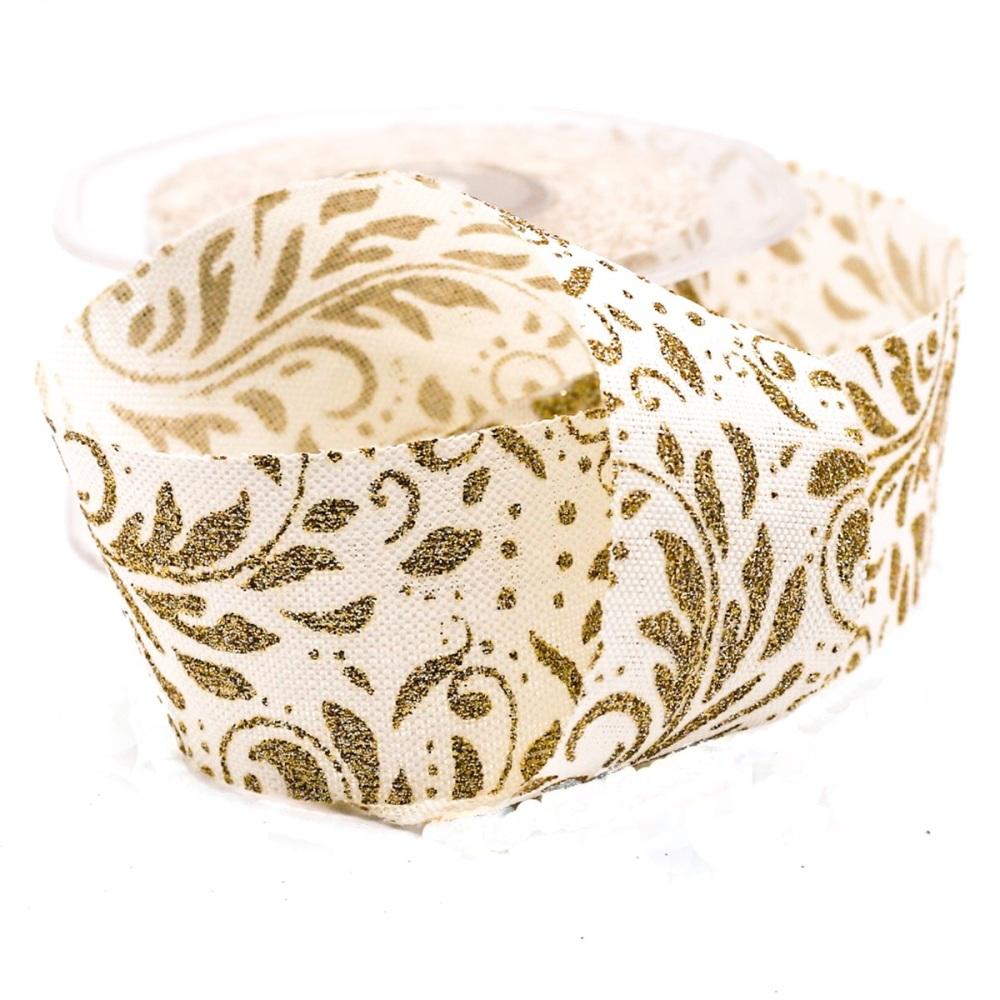 Metallic Gold Pattern on Cream - per metre