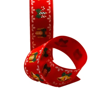 Red Grosgrain with Parcels & Bells -per metre
