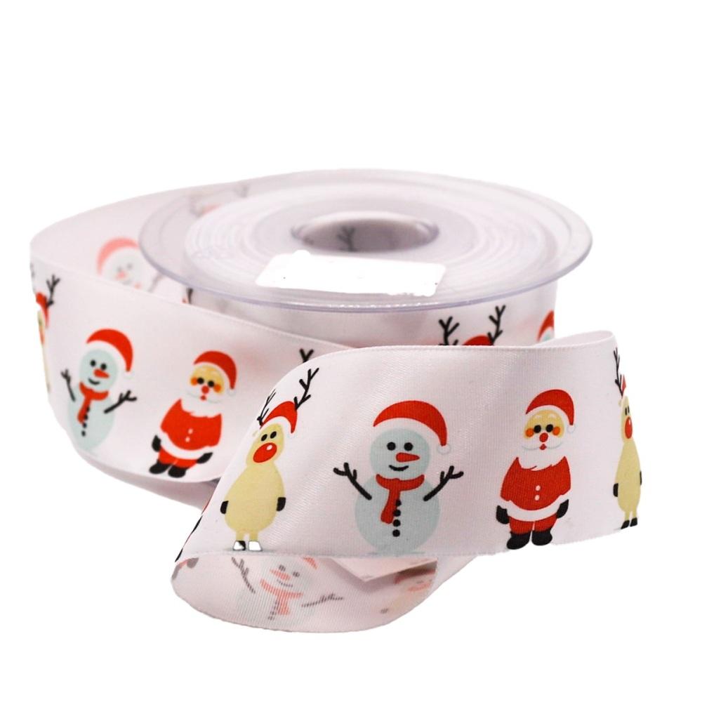 Santa & Snowmen on White Satin - per metre