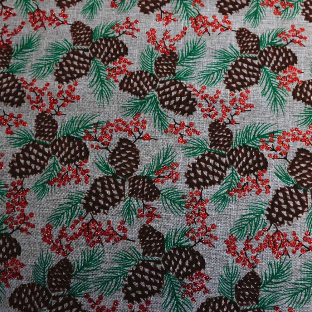 Natural craft cotton with Pin Cones - per half metre