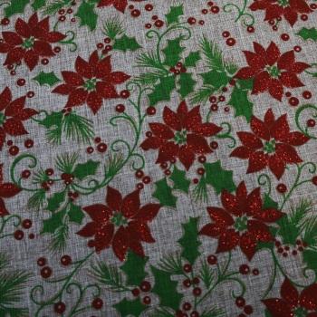 Natural Craft Cotton with Poinsettias - per half metre
