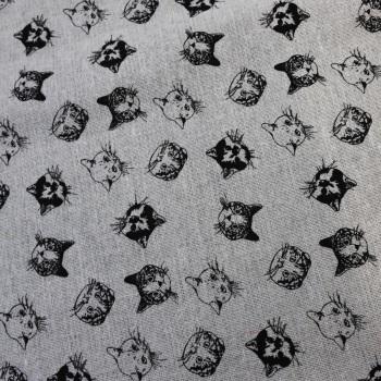 Black Cat Faces - per half metre