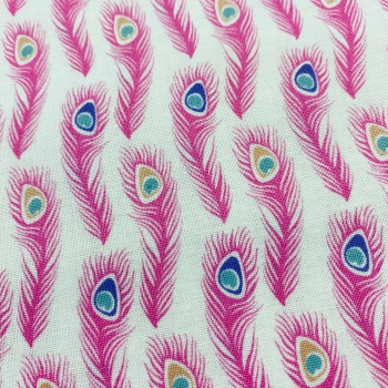 100% Cotton Pink Peacock Feather -  Per Metre