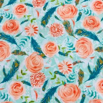 100% Cotton Peach Flower  Cotton- Per Metre