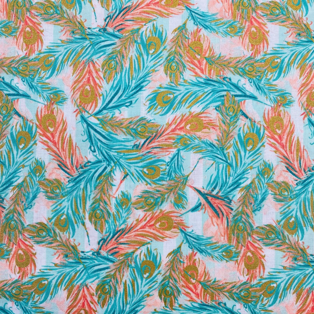 Peach & Turquoise Feather - Price Per Metre