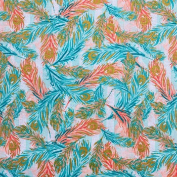 100% Cotton Peach & Turquoise Feathers - Per Metre
