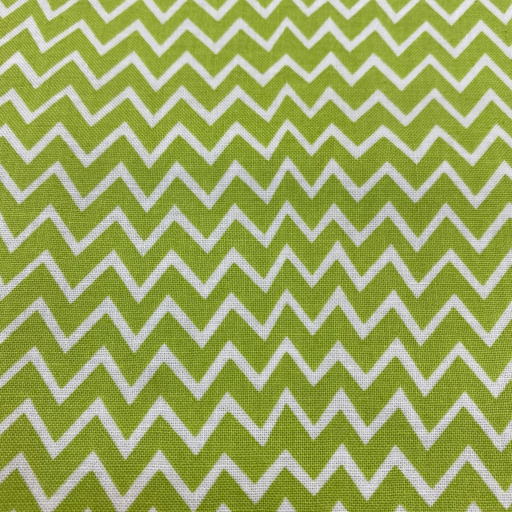 100% Cotton Lime & White Zigzag - Per Metre