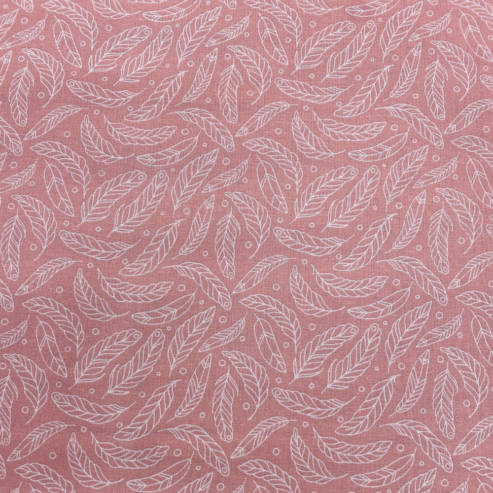 Dusky Pink & White Feather - Price Per Metre